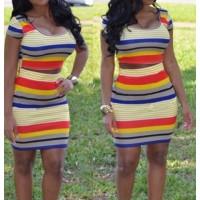 Sexy Women's Scoop Neck Short Sleeve Striped Bodycon Suit multi