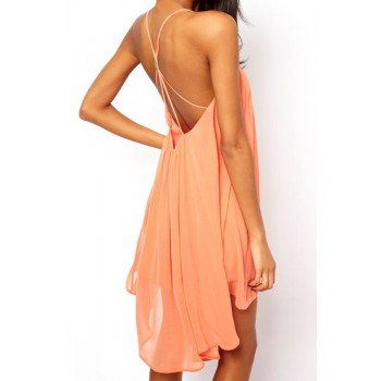 Sexy Women's Spaghetti Strap Solid Color Backless Chiffon Dress Green Pink Black
