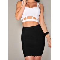 Sexy Women's Sweetheart Neckline Hollow Out Crop Top and Bodycon Skirt Suit white black