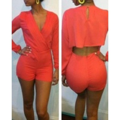 Sexy Women's V-Neck Backless Long Sleeve Jumpsuit Red