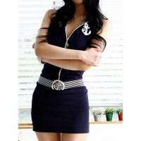 Sexy Women's V-Neck Backless Zippered Bodycon Dress Blue White