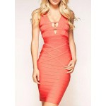 Sexy Women's V-Neck Bodycon Bandage Dress Pink
