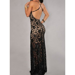 Sexy Women's V-Neck Criss-Cross Backless Lace Dress black