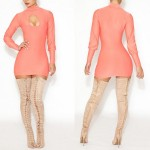 Simple Turtle Neck Long Sleeve Solid Color Hollow Out Bodycon Dress For Women pink