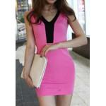 Simple V-Neck Sleeveless Color Block Bodycon Dress For Women plum gray