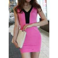 Simple V-Neck Sleeveless Color Block Bodycon Dress For Women plum gray