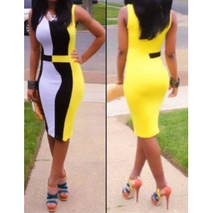 Sleeveless Scoop Neck Bodycon Dress for women yellow black white