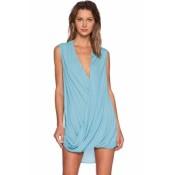 Sleeveless V Neck Front Wrap Shirt Dress