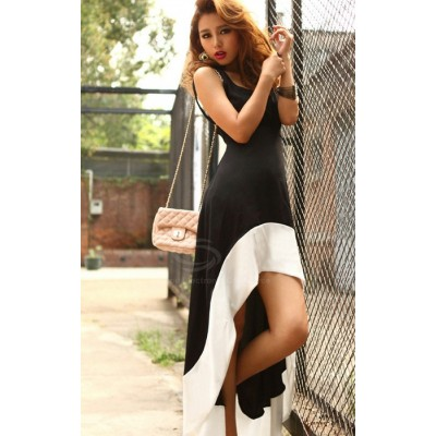 Slim Fit Plunging Neck Sexy High-Low Hem Black White Sundress For Women