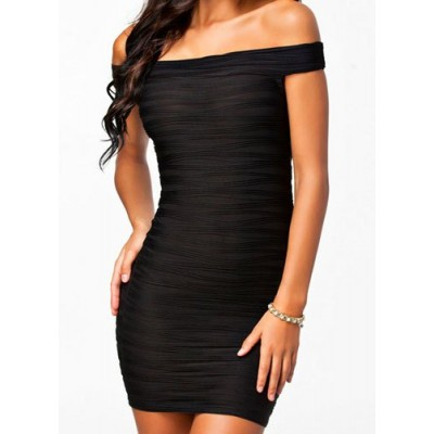 Solid Color Alluring Off-The-Shoulder Sleeveless Packet Buttock Dress For Women Black