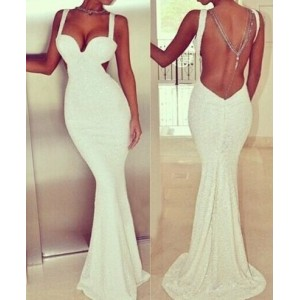 Solid Color Backless Sexy Style Strap Women's Maxi Dress white black
