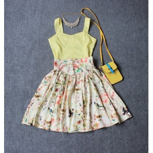 Solid Color Fashionable Tank Top and Floral Print High-Waisted Lace-Up Skirt Women's Twinset Blue Yellow Pink