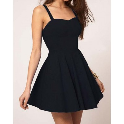 Solid Color Glamour Sweetheart Neck Pleated Backless Skater Dress For Women Black Blue Red