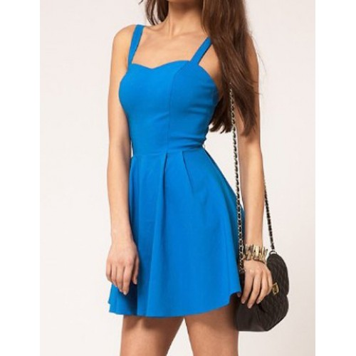 ... Solid Color Glamour Sweetheart Neck Pleated Backless Skater Dress For  Women Black Blue Red f6c7f5e64