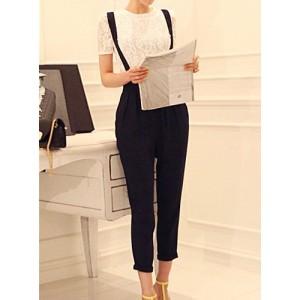 Solid Color High Waist Pocket Design Casual Overalls For Women black