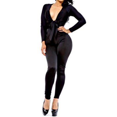Solid Color Long Sleeve Plunging Neck Self-Tie Design Jumpsuit For Women black