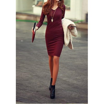 Solid Color Long Sleeve Simple Style V-Neck Cotton Packet Buttock Dress For Women wine red black gray