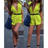 Solid Color Plunging Neck Sleeveless Sexy Style Jumpsuit For Women yellow