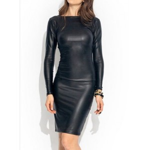 Solid Color Round Neck Long Sleeve Bodycon Dress For Women black