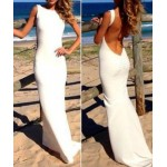 Solid Color Sexy Backless Sleeveless Round Collar Floor-Length Hem Design Dress For Women white green