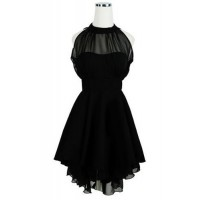 Solid Color Sleeveless Backless Round Collar Mesh Splicing Irregular Hem Dress For Women black red