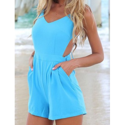 Solid Color Sleeveless Backless V-Neck Lace-Up Design Jumpsuit For Women blue pink yellow