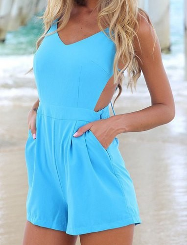 a6e44108e03 Solid Color Sleeveless Backless V-Neck Lace-Up Design Jumpsuit For Women  blue pink Zoom. Product ...