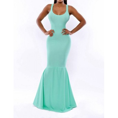 Solid Color Sleeveless U Neck Slimming Floor-Length Mermaid Dress For Women blue