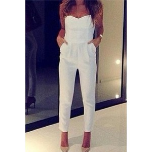 Solid Color Strapless Sleeveless Backless V-Neck Pockets Design Jumpsuit For Women white