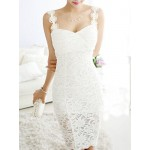 Solid Color Sweet Sweetheart Neck Flower Design Packet Buttock Lace Dress For Women white black