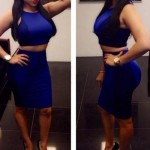Solid Color Trendy Scoop Neck Tank Top + Skirt For Women blue