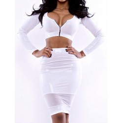 Solid Color Zipper Closure Long Sleeve Scoop Neck Spliced Packet Buttock Suit For Women white