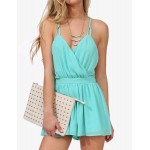 Spaghetti Strap Backless Chiffon JSexy umpsuits For Women green