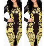 Splicing Long Sleeve Round Collar Gold Black Bodycon Dress
