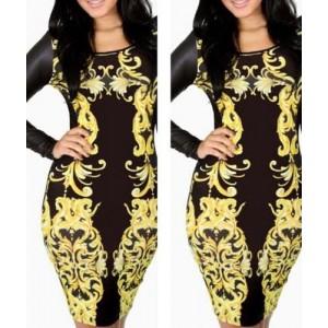 Splicing Long Sleeve Round Collar Gold Black Bodycon Dress