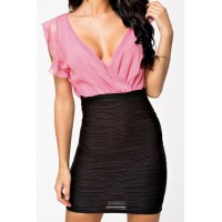 Splicing Packet Buttock Sexy Style Plunging Neck Sleeveless Women's Dress pink blue red