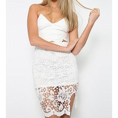 Strapless Low Cut Spliced Lace Asymmetrical White Lace Dress