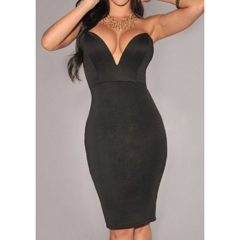 Strapless Sleeveles Plunging Neck Solid Color Packet Buttock Dress For Women red rose black