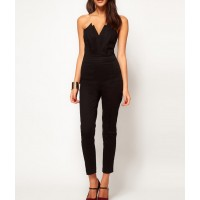 Strapless V-Neck Solid Color Backless Casual Jumpsuit green black