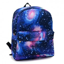 Street Style Women's Satchel With Canvas and Color Matching Design Galaxy Backpack Blue Green