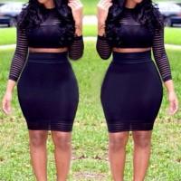 Stripes Trendy Round Neck Long Sleeve T-Shirt + Skirt For Women black