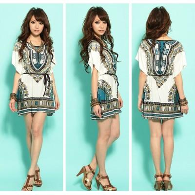 Style Scoop Neck Contrast Color Floral Print Short Sleeve Dress Blue