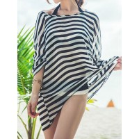 Stylish Halter Neck Color Block Bikini Set + Striped Blouse Three-Piece Suit For Women