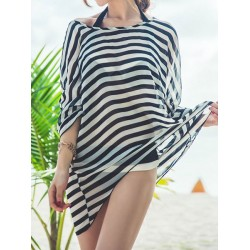 Stylish Halter Neck Color Block Bikini Set + Striped Blouse Three-Piece Suit For Women