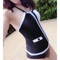 Stylish Halter Neck Color Block One-Piece Swimwear For Women