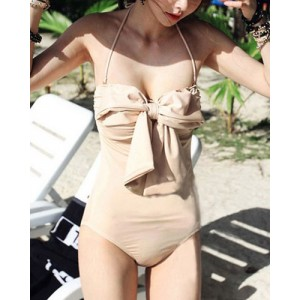 Stylish Halter Neck One-Piece Bowknot Embellished Swimwear For Women