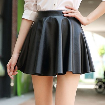 Stylish High-Waisted Zippered Solid Color Skirt For Women black