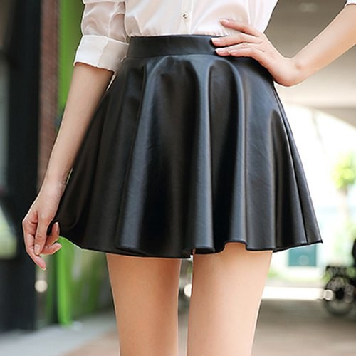 stylish high waisted zippered solid color skirt for