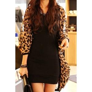 Stylish Leopard Print 3/4 Sleeve Chiffon Cardigan For Women Sexy