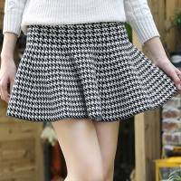 Stylish Mid-Waisted Plaid Zippered Skirt For Women white black claret